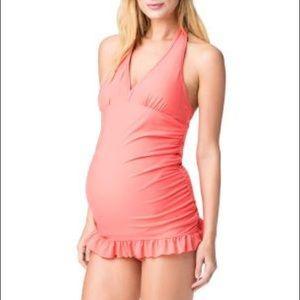 Swim - Jessica Simpson Halter Maternity One Piece Sz S